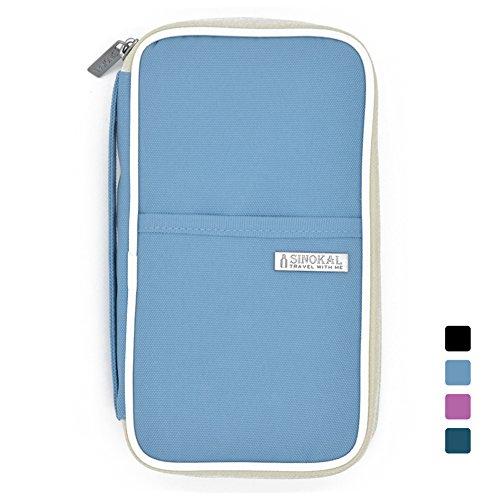 SINOKAL raccoglitore del passaporto dell'organizzatore sacchetto impermeabile di viaggio (Sky blue)