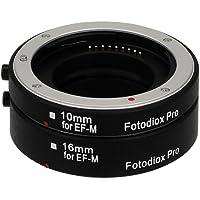 Fotodiox - Set per tubo di prolunga macro per fotocamere Canon EOS M (EF-m) Mirrorless con messa a fuoco automatica AF e auto-esposizione EEL per primi piani ravvicinati (10 - 16 mm), per fotocamere Canon EOS M, M2