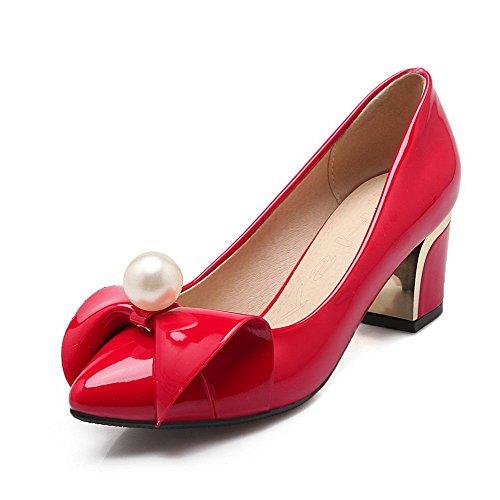 AllhqFashion Femme Mosaïque Pu Cuir à Talon Correct Pointu Tire Chaussures Légeres Rouge