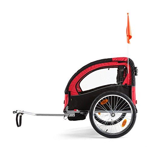 DURAMAXX • Trailer Swift • Fahrradanhänger • Kinderfahradanhänger • Kinderwagen • Babytrailer 2-Sitzer • 5-Punkt Sicherheitsgurten • Umwandlung in Joggermodell • Fliegengitter und Regenschutzverdeck • 37,5 Liter Gepäckfach • zusammenklappbar • rot - 3