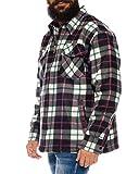 Holzfällerhemd Arbeitshemd Flanellhemd Jacke Kariert Thermohemd gefüttert 04 (Weiß, L)