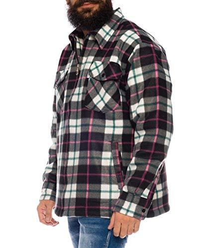 flanellhemd arbeitshemd Holzfällerhemd Arbeitshemd Flanellhemd Jacke Kariert Thermohemd gefüttert 04 (Weiß, XXXL)