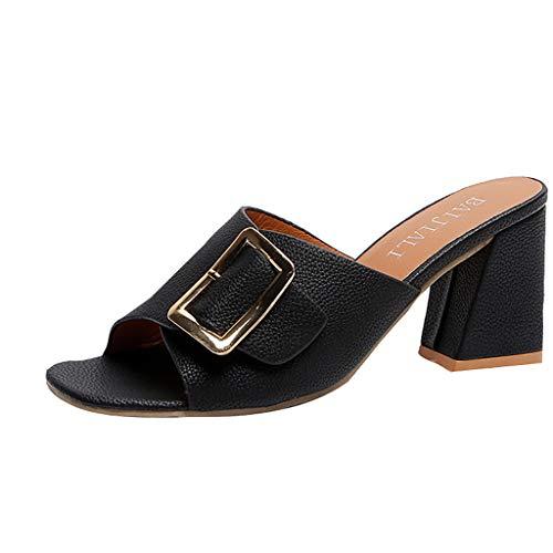 QIMANZI Neue Sandalen Damen Sommer Frauen Sommer Metall Dekoration Peep Toe Schuhe Casual Sandalen Slipper Sandaletten Schöne Sommersandalen(Schwarz,40 EU) -