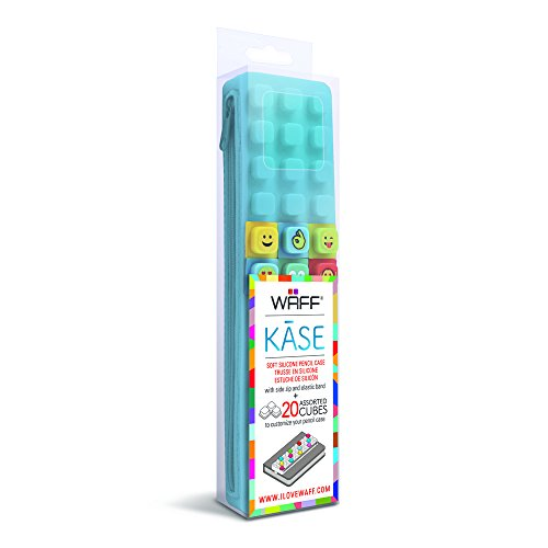 Waff World Gifts Inc. WAFF Pencil Kase with 20 Assorted Cubes, 2.25X8.3 inches, Aqua Blue (Journal Aqua)