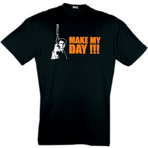 DIRTY HARRY T-SHIRT MAKE MY DAY CLINT EASTWOOD S-XXL Schwarz
