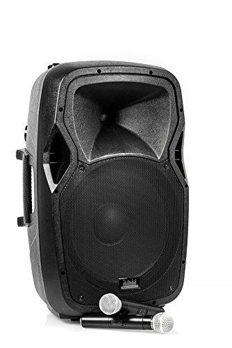 """QSM PA-System Aktiv Box Akku Soundsystem Portable Koffer 15"""" Zoll Lautsprecher l Bluetooth, SD, USB, FM-Radio, Gitarrenanschluss, MP3 l 2x GRATIS Wireless Mikrofon 1000 Watt (Peak)"""