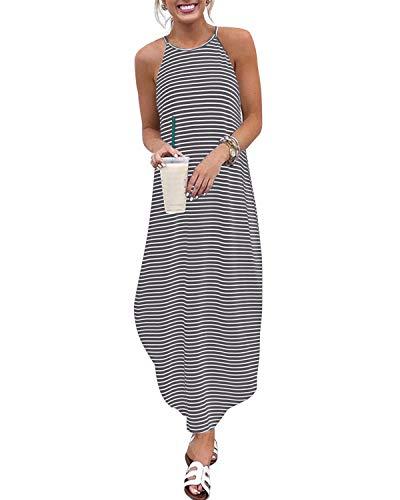 CNFIO Sommerkleid Damen Elegant Kleider V-Ausschnitt Ärmellos Streifen Shirtkleider Design Kurz Blusenkleid Maxikleid Strand Kleider - Klassische Strand-streifen-shirt