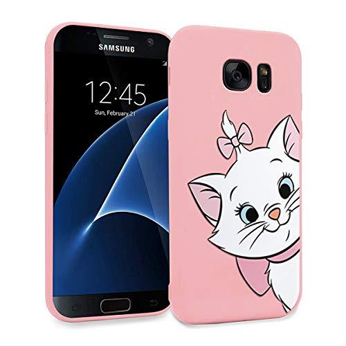 ZhuoFan Coque Samsung Galaxy S7 Edge, Etui en Liquide Silicone 3D Rose avec Motif Dessin Antichoc TPU Housse de Protection Case Cover Bumper Coque pour Téléphone Samsung S7Edge, Chat 01