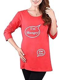AILIENT Camiseta de Manga Larga Maternidad Cute Suelta Embarazada Blusas Túnica Camiseta Premamá Fashion T-Shirt Estampado Divertidas Eslogan para Mujer