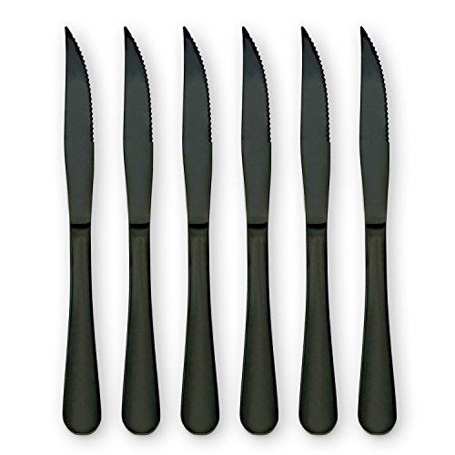 HOMQUEN Ensemble de 6 couteaux à steak en acier inoxydable pour la cuisine ou le restaurant (noir)