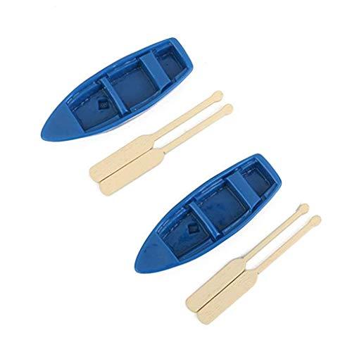 Gankmachine 2 Stück Miniatur-Fee-Garten Blaues Boot Oars Mini-Dekor Zubehör Gartendekoration Kit (Hause Dekor Worten)