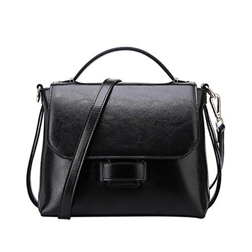 Mena UK Pacchetto di copertura del pacchetto delle borse della spalla di stile dell'annata delle donne di stile dell'annata del Faux del sacchetto di cuoio del Faux ( Colore : Nero , dimensioni : 27cm Nero