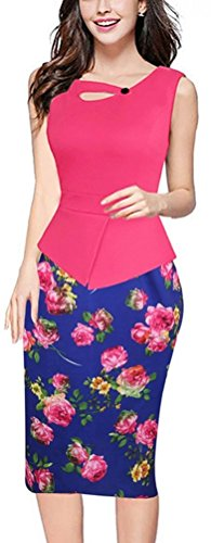 SunIfSnow Damen Schlauch Kleid, Geblümt Gr. M, Hot Pink Rose (Dress Sleeve Puff Belted)