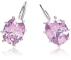 Adara Sterling Silver Cubic Zirconia Pink Drop Earrings