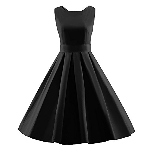LUOUSE Damen 50s Retro vintage Bubble Skirt Rockabilly Swing Evening Kleid,Black,L