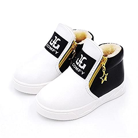 HKFV Superb Cool Amazing Attractive Deisgn Children Casual Sport Boy Girls Fashion Martin Boots Sneakers Autumn Shoes Best Gift For Baby Keep Warming Foot Boots (White 21)