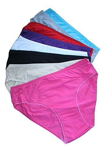 6er Pack Damen Slips Unterhosen Unterwäsche Bikinislips mit Unifarben oder Print (L, 6x Unifarben MIX) (Baumwolle Damen 6 Slips)