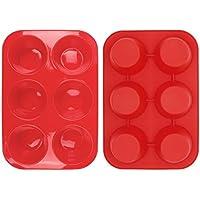 Casa Bonita, set di 2teglie grandi antiaderenti per muffin e cupcake, ciascuna a 6 stampi,resistente al calore fino a 230 °C, adatto a lavastoviglie e microonde,rosso