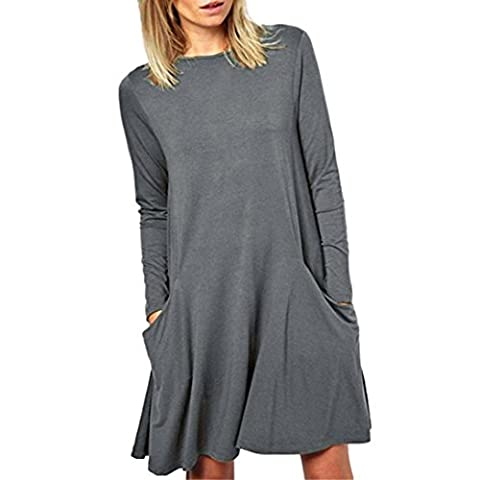 Robe, Tonsee Femmes Vrac Grande poche Casual manches longues col O Ruffles Mini robe (S, Gris)