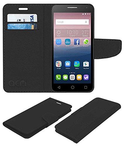 Acm Mobile Leather Flip Flap Wallet Case for Alcatel Pop 4 Plus Mobile Cover Black