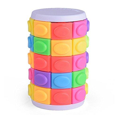 STOBOK Cube cylindrique Magique à Cinq Commandes Cube Casse-tête Mind Bending Bouton Twist Slide Jeu de logique Jeu (Coloré)