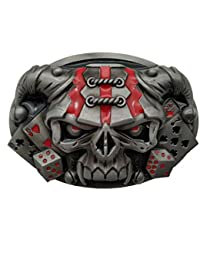 YONE Hebilla de cinturón Clown Hat Skull Poker Dice Belt Buckle