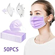 BeAcien 50PCS Dispossable Face Mask for Adults 3Ply Industrial Breathable Earloop PM2.5 Safety Nose Clip-on Mo