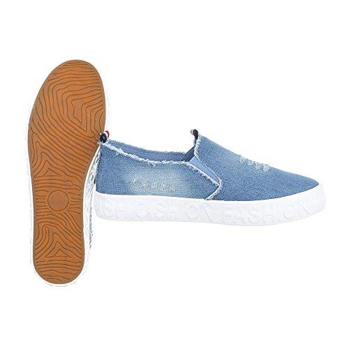Ital-Design Sneakers Low Damenschuhe Sneakers Low Sneakers Freizeitschuhe Hellblau KK-19