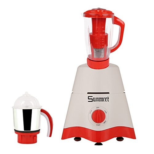 Sunmeet White Color 750watts White Color Mixer Juicer Grinder With 2 Jar (1 Juicer Jar With Filter And 1 Chuntey Jar)