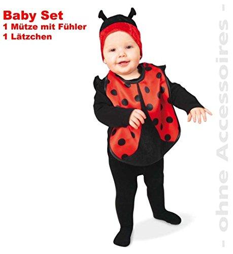 Marienkäfer 2tlg Baby-Set Süßer Käfer Lätzchen + Mütze mit Fühler Kinder-Kostüm Fasching Gr: 0 - 2 Jahre