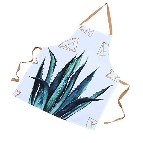 Qinlee Grün Stil Küchenschürze Küchen Uniformen Schürzen Tropische Pflanze Stil Grillschürze Antifouling Arbeitsschürze