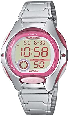 CASIO Collection LW-200D-4AVEF - Reloj de cuarzo con correa de acero inoxidable para niñas, color rosa / plateado