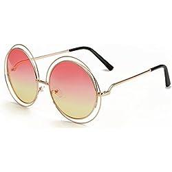 paciffico Unisex Erwachsene Fashion Übergroße Aviator Sonnenbrille Retro Metall rund Rahmen Gradient farbigen Spiegel Brille PC Linse Gläser UV400 Einheitsgröße Pink&Yellow