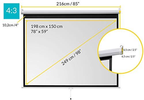 ivolum Rolloleinwand 200 x 150cm Nutzfläche | Format 4:3 | Als Heimkino-Leinwand oder Business-Leinwand einsetzbar | einfach Montage und Bedienung | Beamer-Leinwand in verschiedenen Größen erhältlich - 2