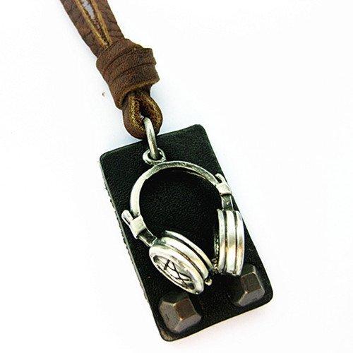 Leder-stahl-liege (Veuer Echtleder Echtes Leder Hals-Kette Schmuck für Herren Pentagramm Kopfhörer Metal Man Geschenk zu Weihnachten für Männer , Freund , Ehe-Mann)