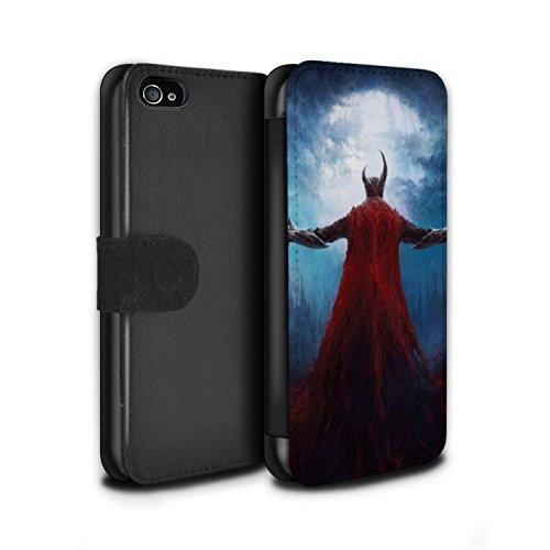 Offiziell Chris Cold PU-Leder Hülle/Case/Tasche/Cover für Apple iPhone 4/4S / Gehörnter Dämon Muster / Dämonisches Tier Kollektion Dunkelste Stunde