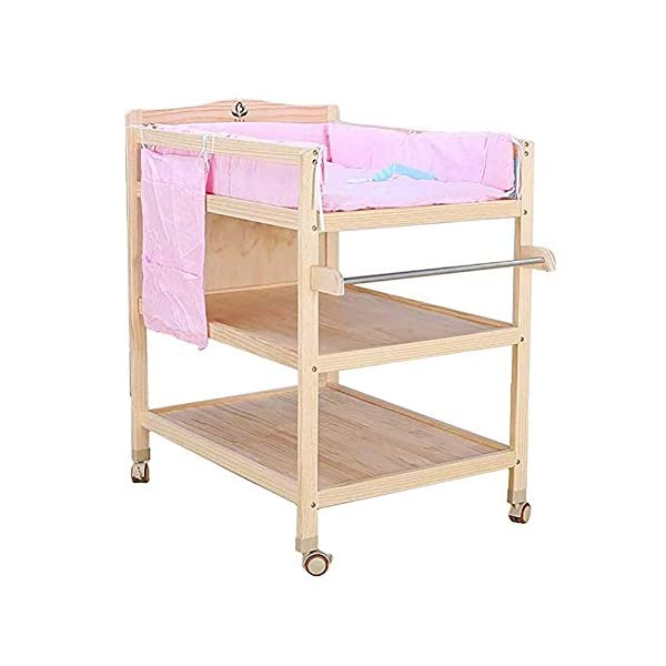 CWJ Small Bed for Look After Baby Without Bending Over,Diaper Changing Tables with Brake Wheel,Wooden Diaper Station Organizer for Infant,Table with Storage Storage Desk,Blue CWJ [Dimension]:86×64×95Cm(1Cm=0.39Inch), Load up 45Kg. Easy Assembly Required. [Stable Structure]:Made of Solid Wood. Four Brake Wheels Makes It Flexible to Move & Stop. a Safety Belt is Equipped on the Cushion for Added Security. [Large Storage Spaces]:Equipped 2 Storage Layers, You Can Place Soaps, Towels and Any Other Accessories Conveniently. 2