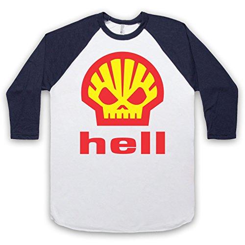 Inspiriert durch Shell Hell As Worn By Heath Ledger Unofficial 3/4 Hulse Retro Baseball T-Shirt Weis & Ultramarinblau
