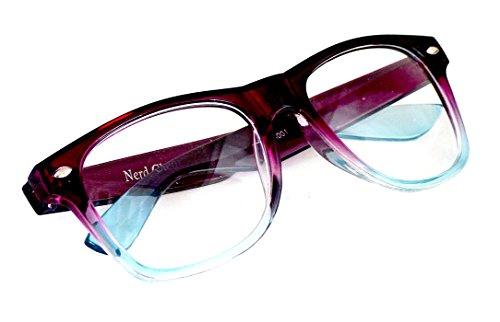 Wayfarer Nerd-Brille Hell-Blau Lila ohne Sehstärke 15cm Herren Damen Unisex Panto-Brille...