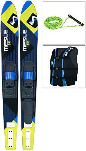 MESLE Combo-Ski Package XPlore 157 cm mit Weste Sportsman + Leine Set, Wasserski für Jugendliche und Erwachsene, blau-Lime -
