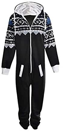 """Unisex Aztec Print Zip Up Oska Onesie All In One Hooded Jumpsuit Playsuit Fleece Lined (Medium (40"""" chest 65"""" length approx), Black/White)"""