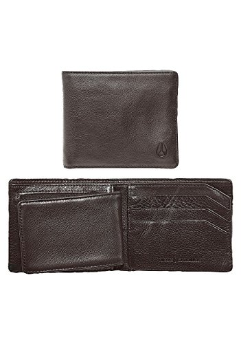 Nixon Satellite Big Bill Bi-Fold ID Coin Wallet Münzbörse, All Schwarz Braun