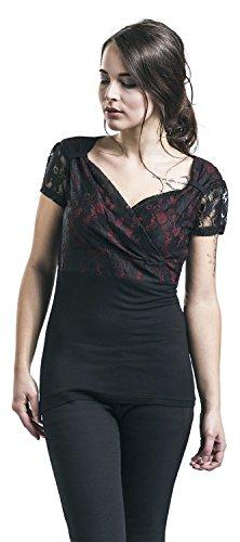 Gothicana by EMP Lace V-Neck Girl-Shirt Schwarz/Bordeaux Schwarz/Bordeaux