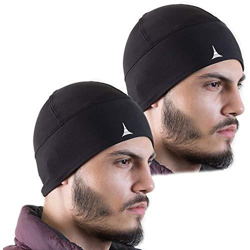 French Fitness Revolution Helmet Liner Skull Cap Beanie. Ultimate Thermo- und Performance Feuchtigkeitstransport. Passt Unter Helme, 2PACK - Black -