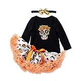 Tefamore Vestidos Bebe Niña, Ropa Bebe Niña Disfraz Halloween Cráneo Impresión Manga Larga Mameluco Ropa+ Bow-Knot Tutu Falda + Diadema (Negro, 3-6 Meses) (12-18 Meses, Negro)