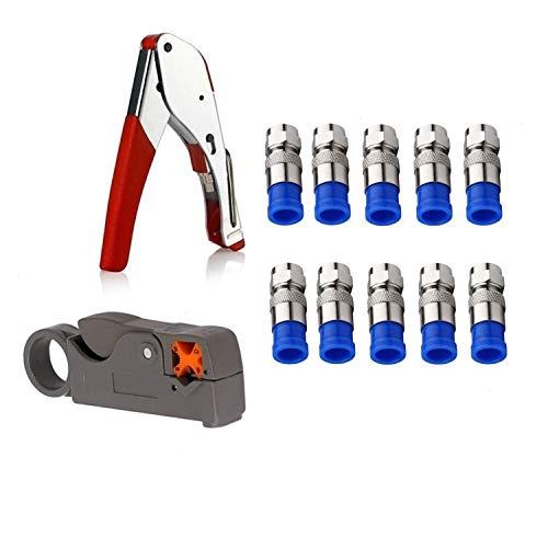 Noblik Koaxial Kabel Crimper Kit Werkzeug Für Rg6 Rg59 Koaxial Kompressions Werkzeug Montage Abisolier Zange Mit 10 Stücke F Kompressions Anschlüsse Quad Crimp Tool