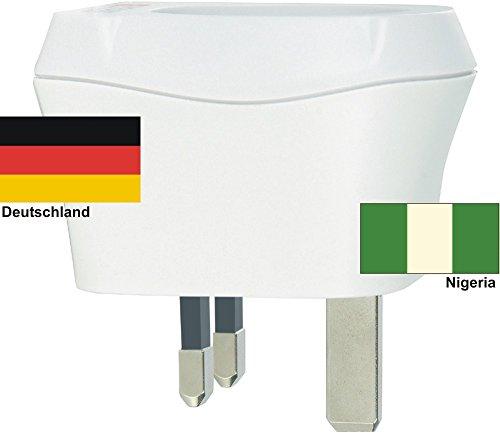 Design Reisestecker Adapter Nigeria auf Deutschland, Schukostecker 230V, Umwandlungsstecker NG-D