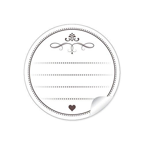 24 STICKER: 24 universal Etiketten in weiß mit 4 Linien (Freitextfeld) für Selbstgemachtes, Zutaten, Datum, Rückseitenetiketten für Einmachgläser, Glasflaschen • Papieraufkleber: 4 cm, rund, matt