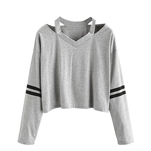 Pull Femmes Angelof Court Pull Femme Mode Coton MéLange Gris Long Manche Sweatshirt V Cou Causal Tops Chemisier (M)