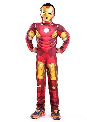 Lovelegis taglia l - 7-8 anni - costume da supereroe e maschera - busto muscoloso - iron man per bambini travestimento carnevale halloween cosplay accessori